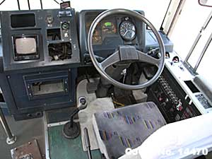 Steering view of Fuso Bus