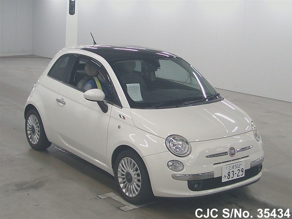 2009 fiat fiat 500 white for sale stock no 35434 japanese used cars exporter. Black Bedroom Furniture Sets. Home Design Ideas