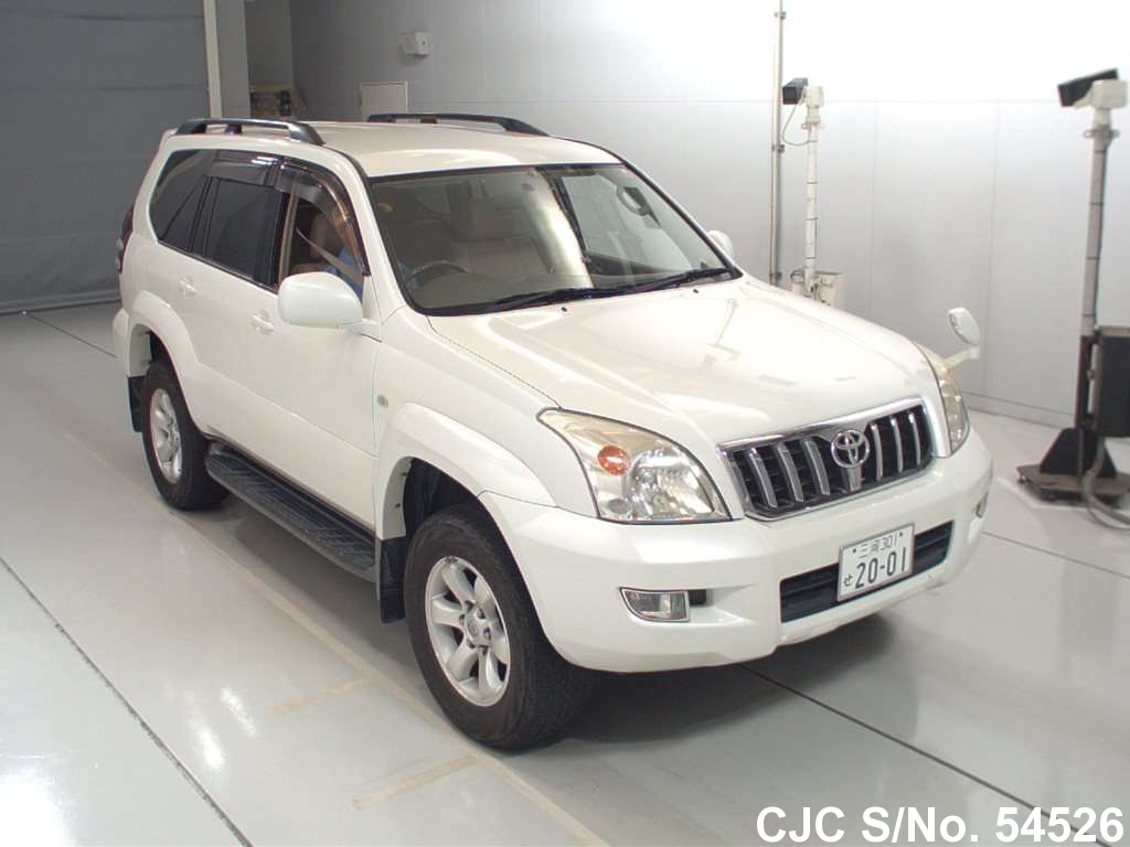 2004 toyota land cruiser prado white for sale stock no. Black Bedroom Furniture Sets. Home Design Ideas